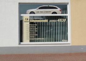 169 Schaufensterbeschriftung Taxi Schymanowski